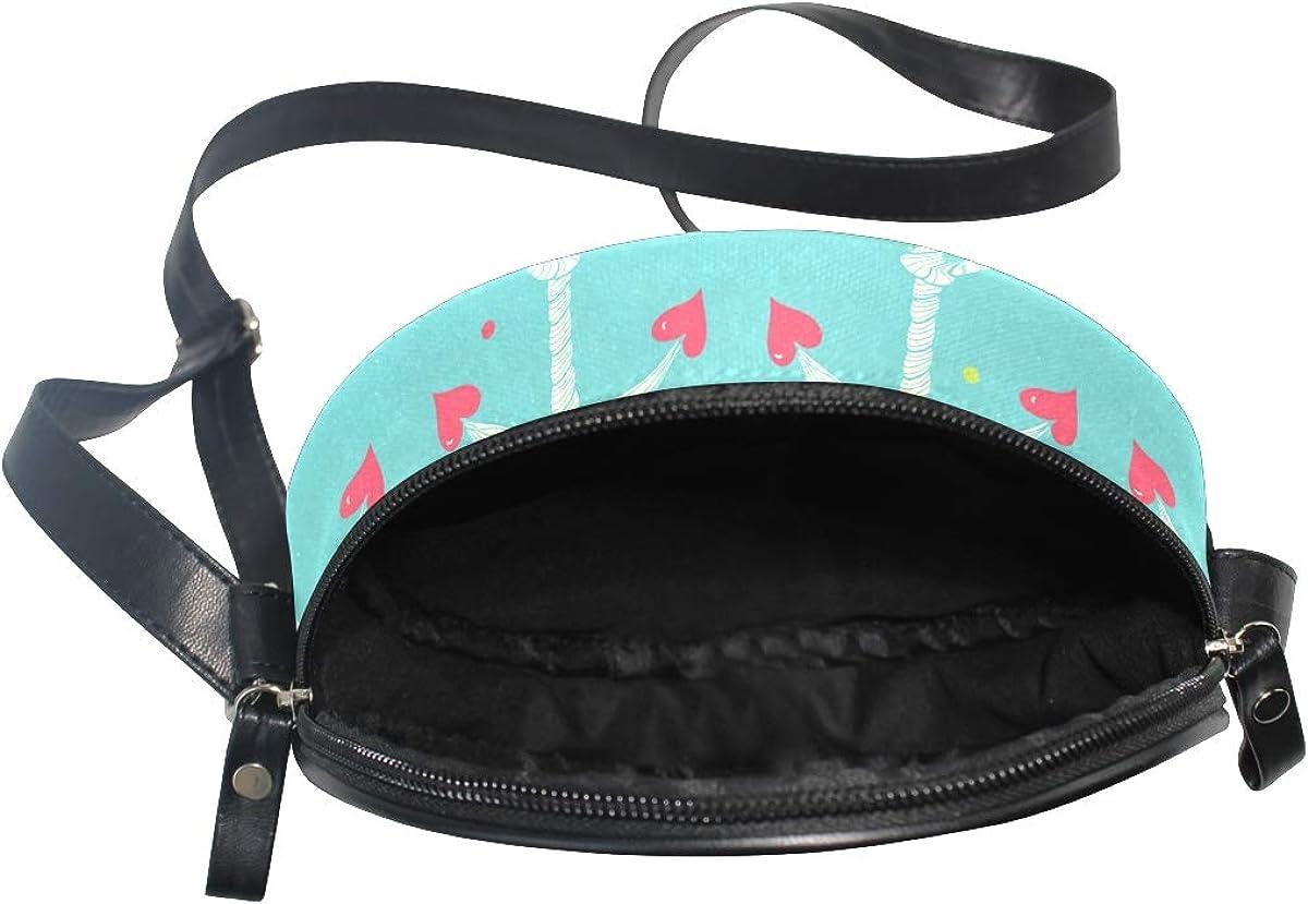 KEAKIA Flamingos Pattern Round Crossbody Bag Shoulder Sling Bag Handbag Purse Satchel Shoulder Bag for Kids Women