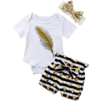 3pcs/Set Toddler Kids Girls Feather Print Tank Tops + Tassel Dot Shorts + Gold Bowknot Headband Outfits Clothes 2-7Y