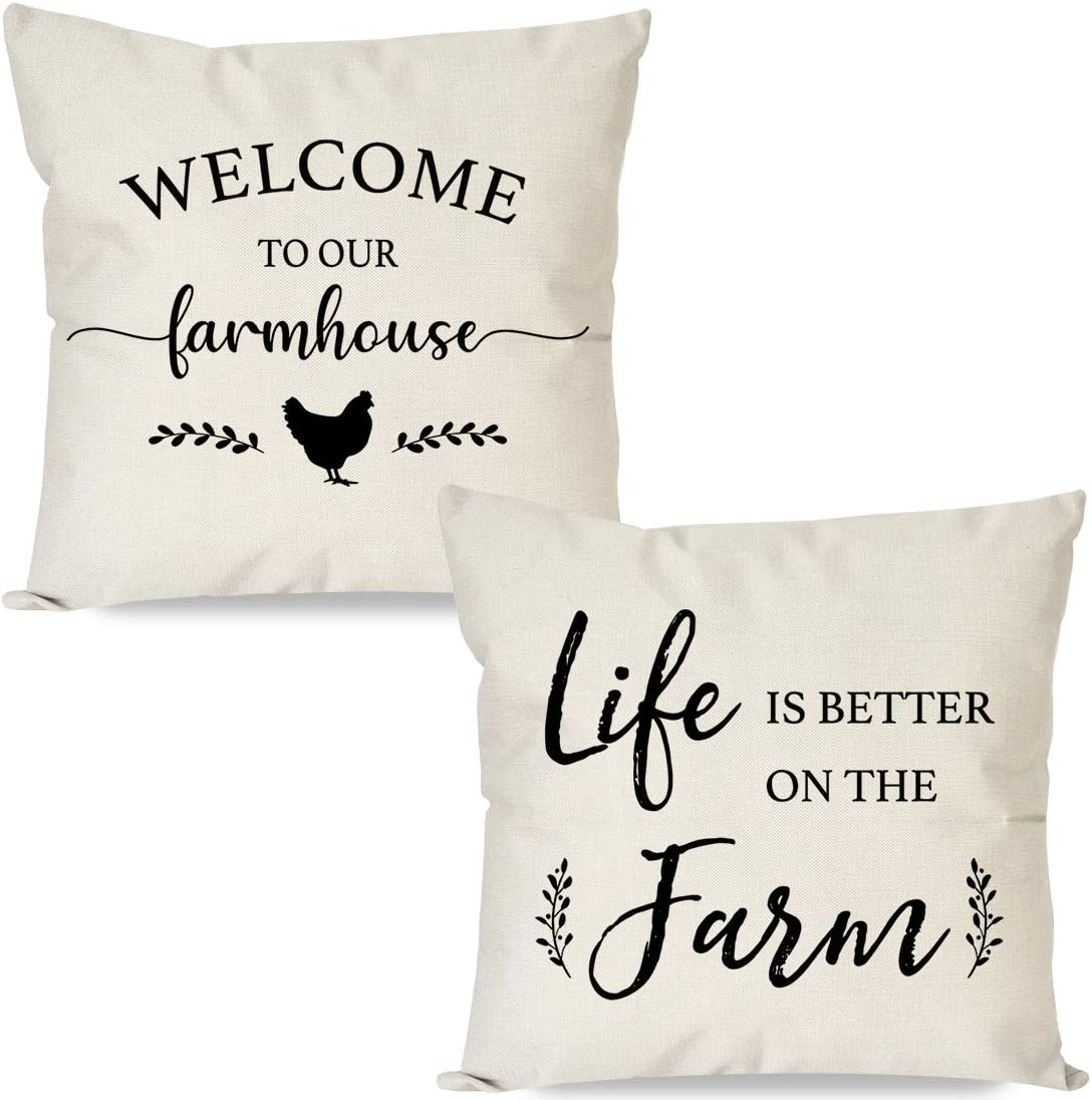 PANDICORN Set of 2 Farmhouse Pillow Covers 18x18 with Quotes Welcome to Our Farmhouse Life is Better on The Farm for Home Décor, Rustic Black and Cream Throw Pillow Cases for Couch Outdoor Porch
