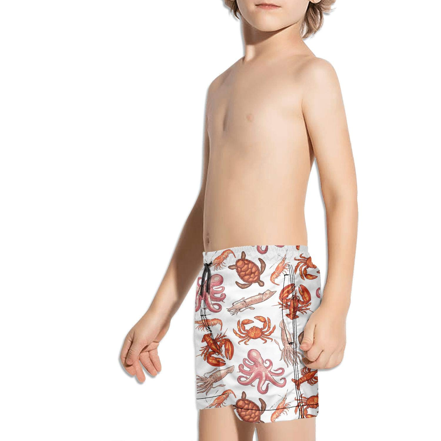 Crab Shrimp Octopus Llobster Sea and Turtle Shorts Swimming Tucks for Kid Quick Dry Side Split Sporty Swimming Tucks Active Extended