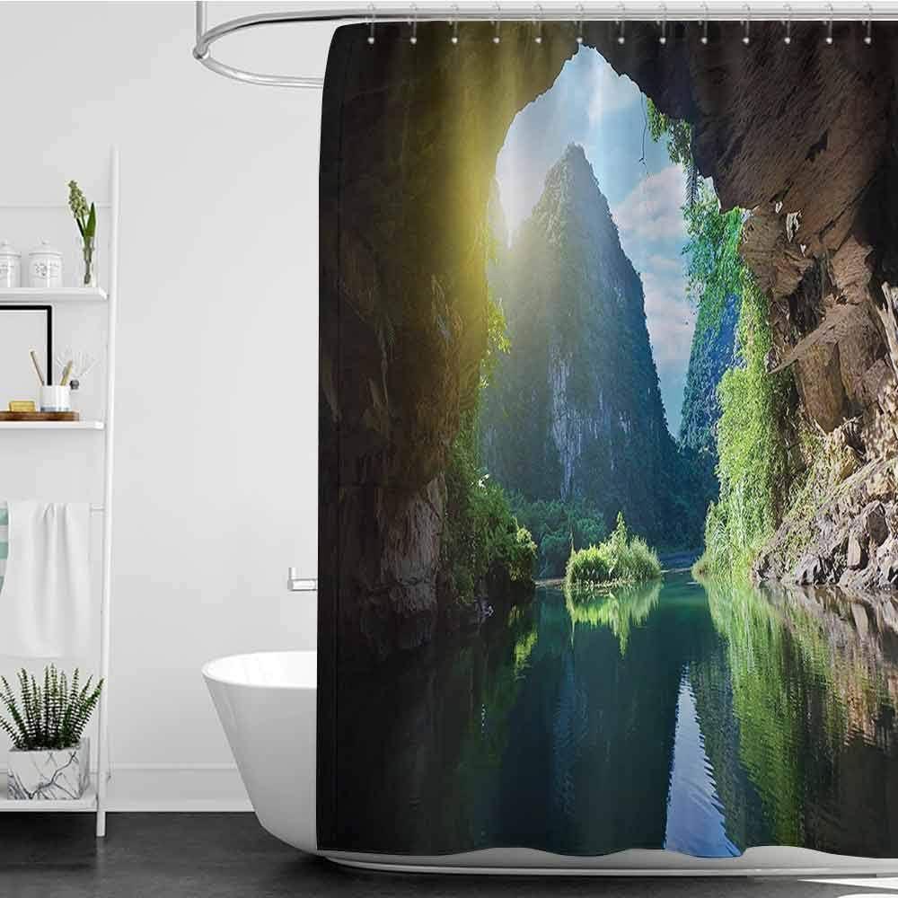 Homecoco - Cortinas de ducha con diseño de cueva verde natural, decoración de glaciar congelado en Islandia, formas naturales de olor, imagen escandinava nórdica, cortina de ducha azul para mampara de ducha: