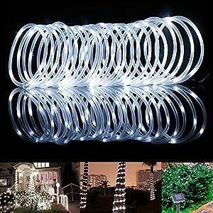 Samoleus 12m 100 Led Lichtschlauch Solar Led Kupferdraht Lichterkette