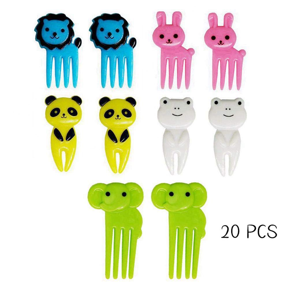 Animal Food Picks - 20PCS Fruit Forks Cute Animals Bento Lunch Box Fun Decorative - Small Plastic Cartoon Fork Set for Toddler Baby Cake Dessert Toothpick Decor Kids Gift
