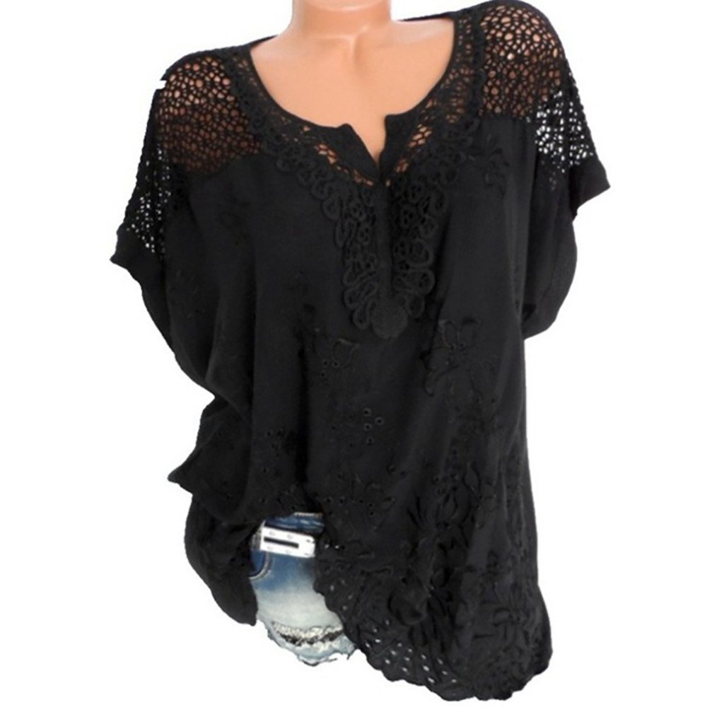 Women's Casual Short-Sleeved Solid Color Top,Selinora'S O-Neck Hollow Out Blouse Cold Shoulder Printed Top T-Shirt Black
