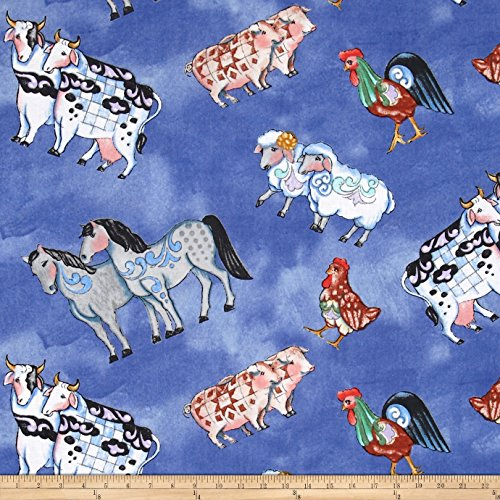 Springs Creative Products Jim Shore Noah's Ark Animals Tossed Blue Fabric By The Yard