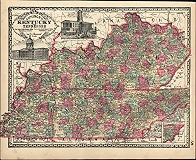 Kentucky Tennessee state map w/ capitols vignettes 1892 antique map decorative