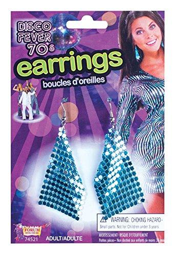 70's Blue Diamond Disco Earrings ()