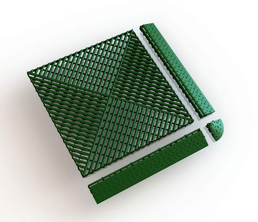 Umrandung mit Schlitzen zu Bodengitter 405 x 61 x 18 mm Bodenrost Balkonfliese ab 4 St/ück Terrassenfliese 12, rot Kunststoff Rasenfliese
