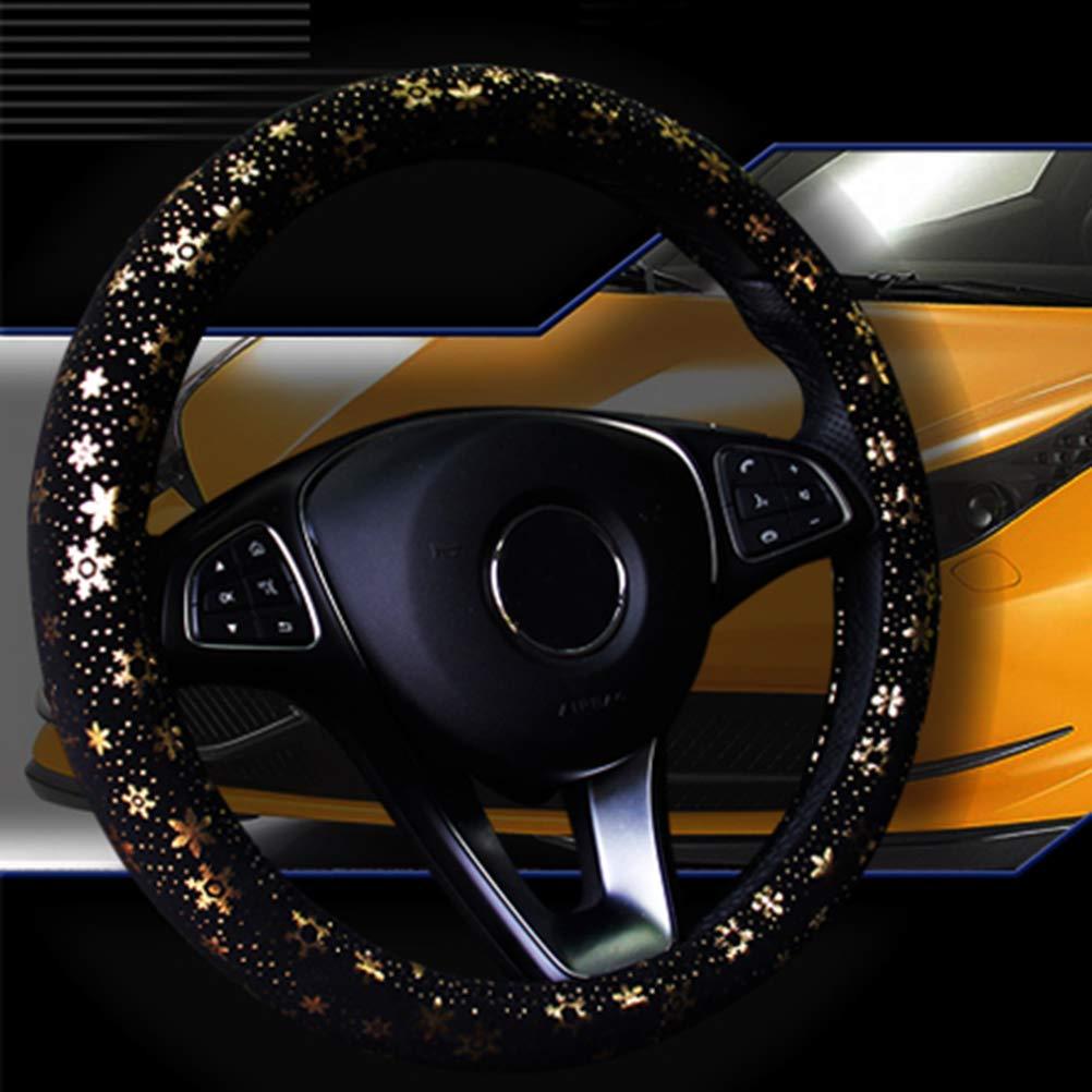 Cubierta del volante del coche Shining Snowflake 4 colores antideslizante lindo para 15 pulgadas oro de las mujeres