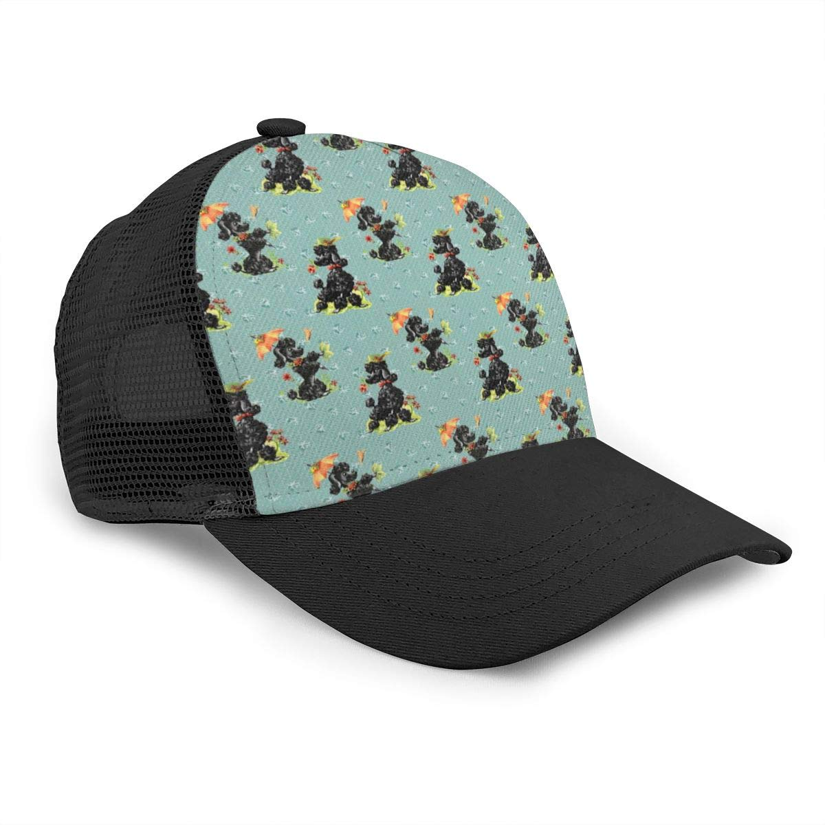 Mens Prissy Poodles Green Flat Baseball Hat Vintage Sports Cap for Unisex
