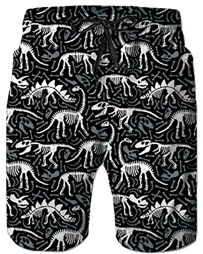 065e6c30874a0 TUONROAD 3D Funny Prints Colorful Short Swim Trunks White Black Dinosaur  Fossils Summer Vintage Novelty Shorts