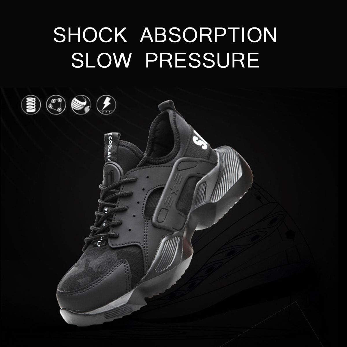 DoGeek Calzado Seguridad Hombre Zapatos Trabajo con Punta de Acero Antideslizante Senderismo Unisex-Adulto