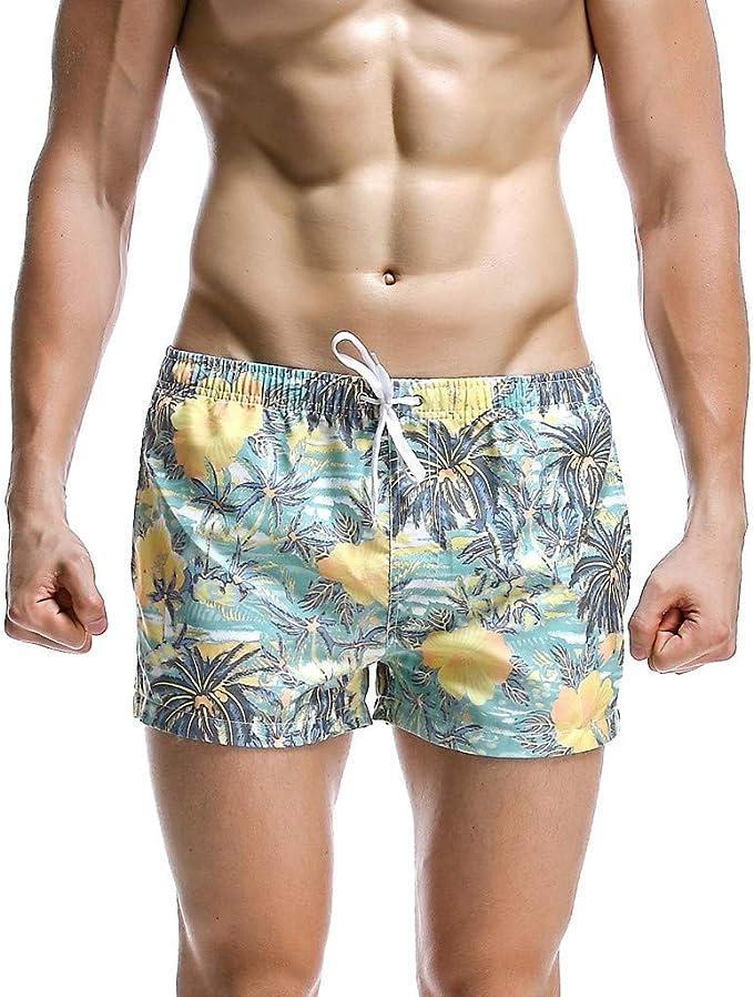 Domple Mens Drawstring Casual Beach Capri Pants Printed Plus Size Board Swim Trunk