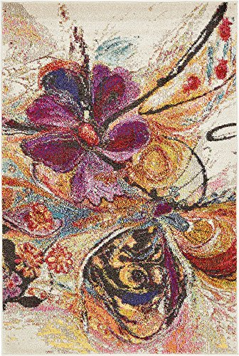 Modern Abstract 4 feet by 6 feet (4' x 6') Infinite Beige Contemporary Area Rug