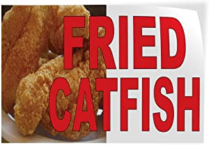Decal Stickers Multiple Sizes Fried Catfish Red Food Bar Restaurant Truck Industrial Vinyl Safety Sign Label Restaurant & Food 10x7Inches