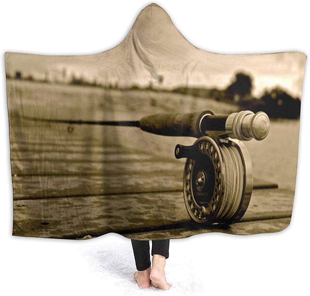 Blanket Caña De Pescar Vintage En El Tablero Edredón con Capucha Manta De Tiro Manta Ultra Suave Y Ligera 102X127Cm Manta De Cama Manta De Lana Sofá Duradero Manta con Capucha