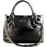 Bovari XL Black Calf Chain Bag Leder Handtasche Schultertasche 45x32x13cm (BxHxT) - schwarz / black / noir