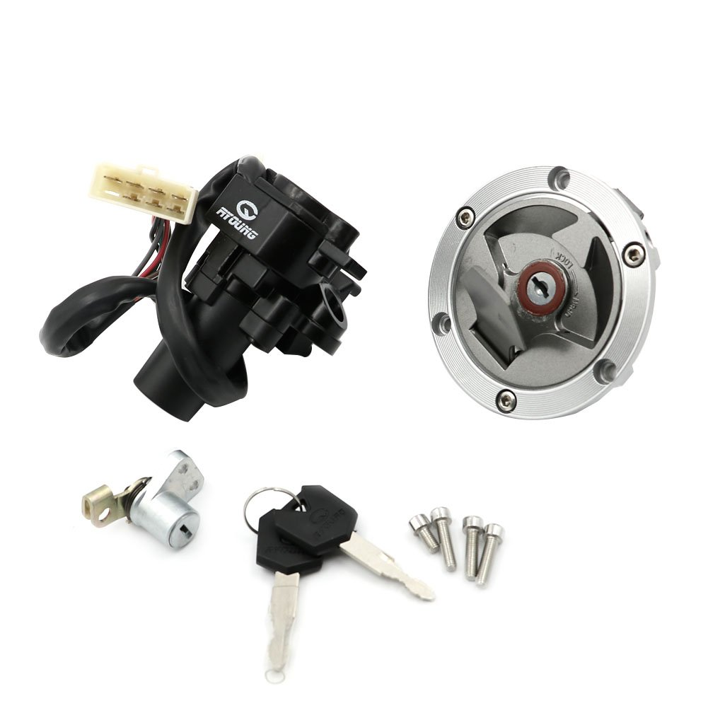 Alpha Rider Ignition Switch Lock Fuel Gas Cap Cover Seat Lock Keys Set For Kawasaki Ninja 250R EX250J SE 2012 | Ninja 250R EX250J 2008-2012 | Ninja 300 EX300B ABS 2014-2015 Motofans