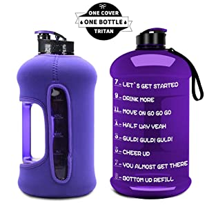 TOOFEEL Dishwasher Safe 1 Gallon/ 2.2L Big Reusable Sports Water Bottle with Motivational Time Marker Water Jug Container Large Water Canteen BPA Free Leak-Proof for Gym Fitness Athletic