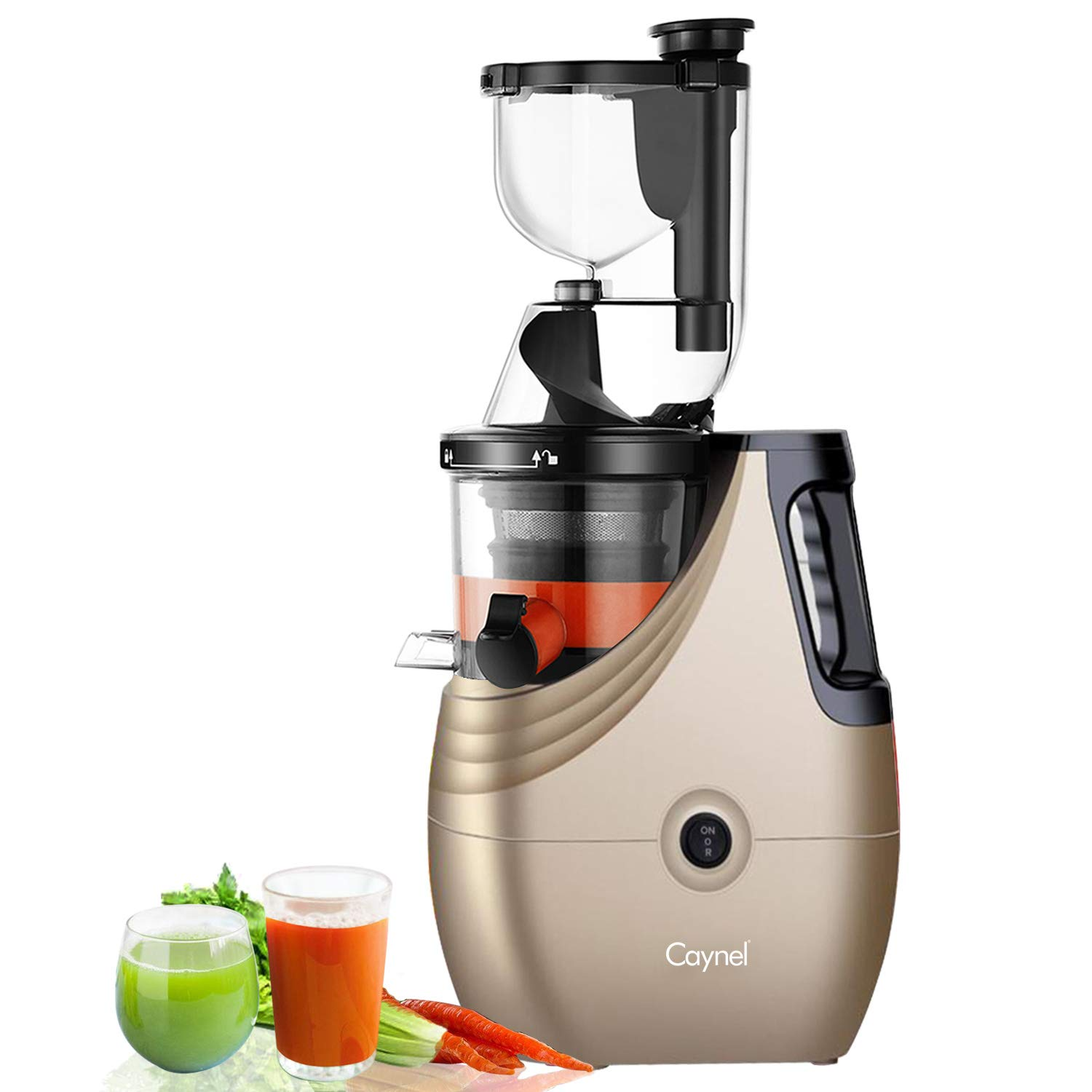 Slow Masticating Juicer Caynel Cold Press Extractor with 3'' Wide Chute for Fruits, Vegetables and Herbs, Quiet Durable Motor with Reverse Function, High Yield Vertical Juicer Easy Cleaning, BPA Free by CAYNEL