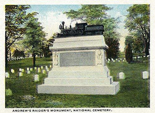 Chattanooga, Tennessee - National Cemetery; View of Andrew's Raiders' Monument (16x24 SIGNED Print Master Giclee Print w/Certificate of Authenticity - Wall Decor Travel Poster)