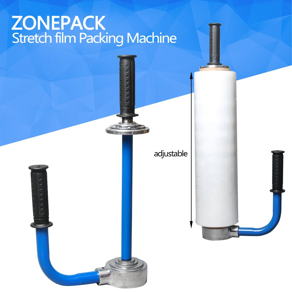 ZONEPACK Manual Stretch Film Wrap Dispenser Holds 12'' to 20'' Stretch Film Light Weight Pallet Wrapper Stretch Film Packing Machine (Blue)
