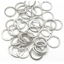 """Rockin Beads 40 Shiny Silver Plated Flat Sided 1"""" Split Key Ring Connectors Steel Alloy"""