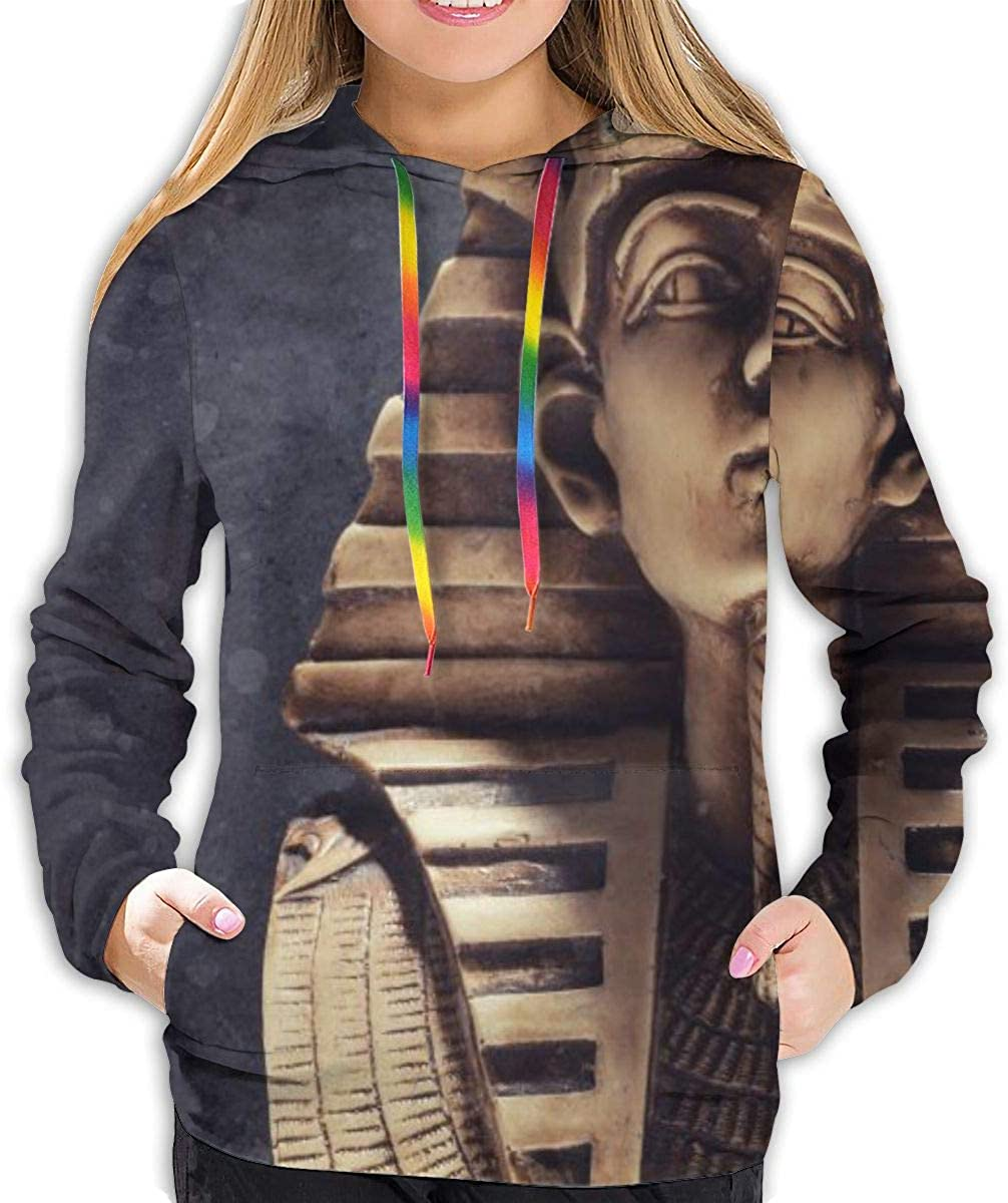 Stone Pharaoh Mask Womens Girls Novelty Cute Watercolor 3D Print Pullover Hooded Sweatshirt