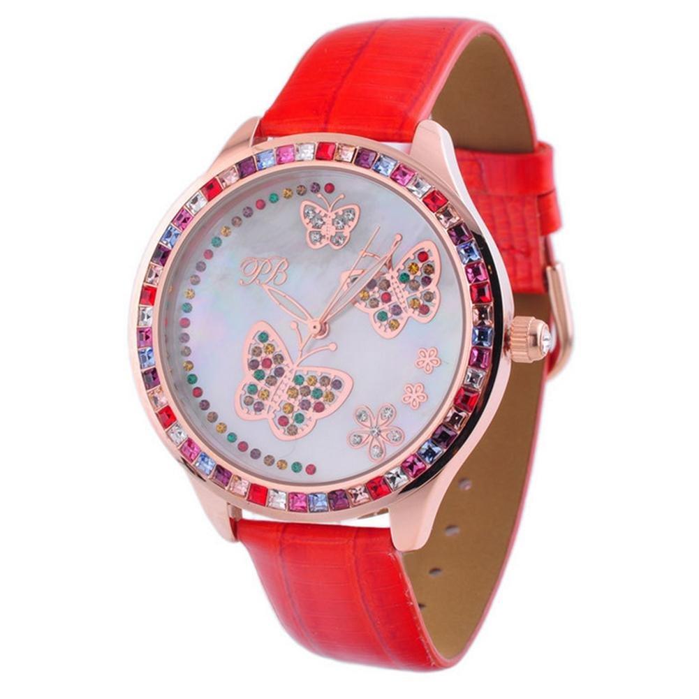 Mode Dame kristalliner Quarz Leder Armbanduhr