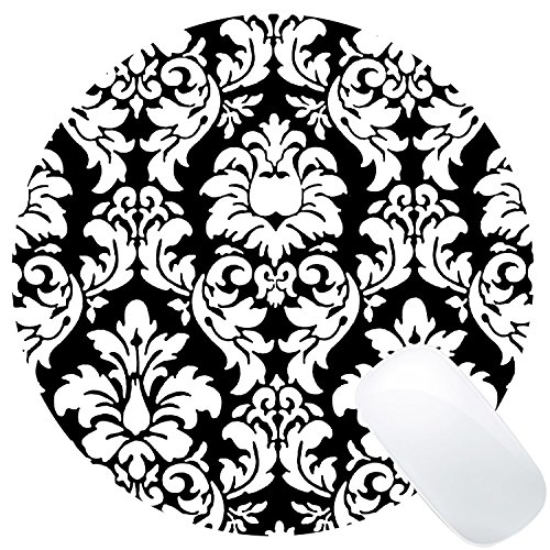 Wknoon Round Mouse Pad Customized Design, Abstract Damask Black And White Art