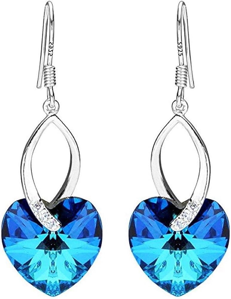 Sterling Silver Dangle Earrings Swarovski Crystal #6228 Heart Pendant  Hypoallergenic Nickel Free Jewelry Women Girls Birthday Gift