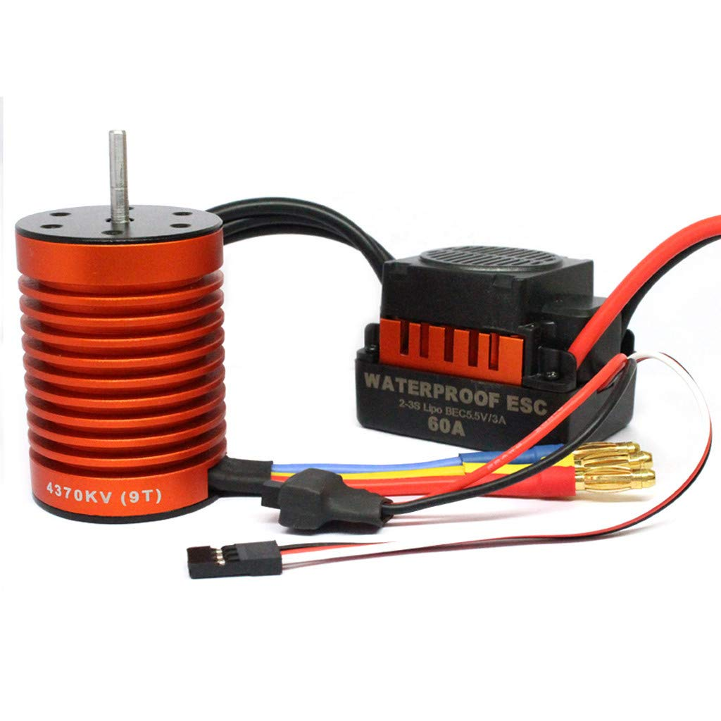 Rigel7 4370KV 9T Waterproof 60A Brushless Motor+60A ESC Speed Controller Combo ME720 for 1/10 RC Car Truck