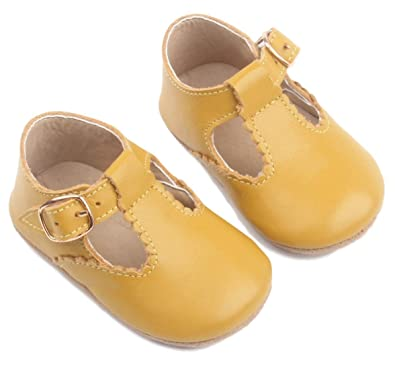 XO Kids Baby Moccasins: Genuine Leather Baby Moccasins T-Bar Style Mustard (Small