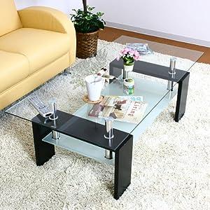 スタイリッシュで人気の強化ガラステーブル センターテーブル ブラック 120cm幅