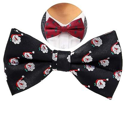 cf1ef150aa6c1 Hilai 1pc Noël pré-attaché Noeud Papillon réglable Bowties Père Noël Bowtie  Vacances Costume Cravate