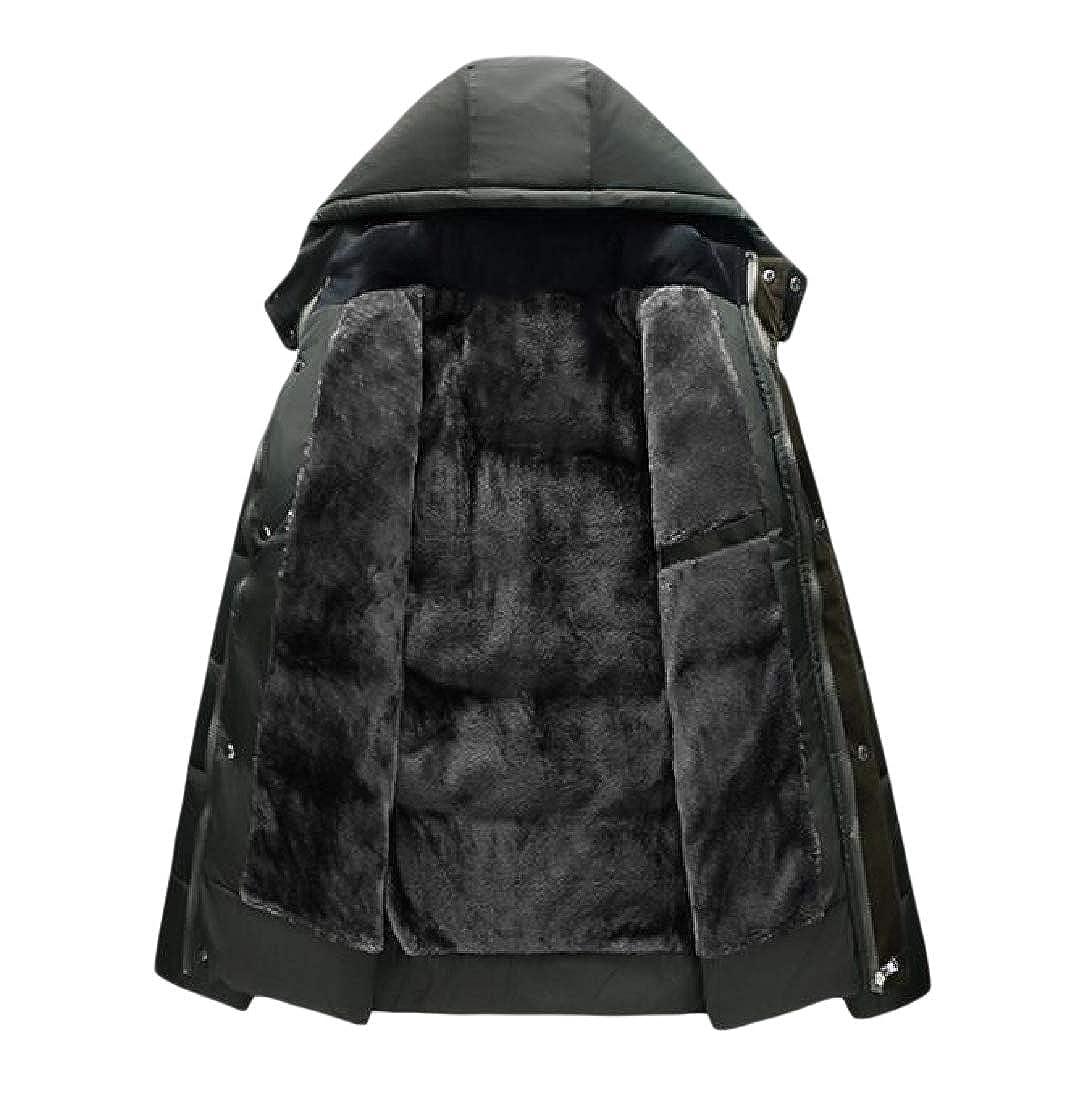 Vska Men Brumal Fleece Lined Hoode Slim-Fit Warm Parka Jacket Coat Outwear