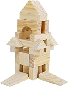 Onshine Solid Big Wood Building Blocks with Wooden Storage Box 64 Pieces Set (46pc Set)