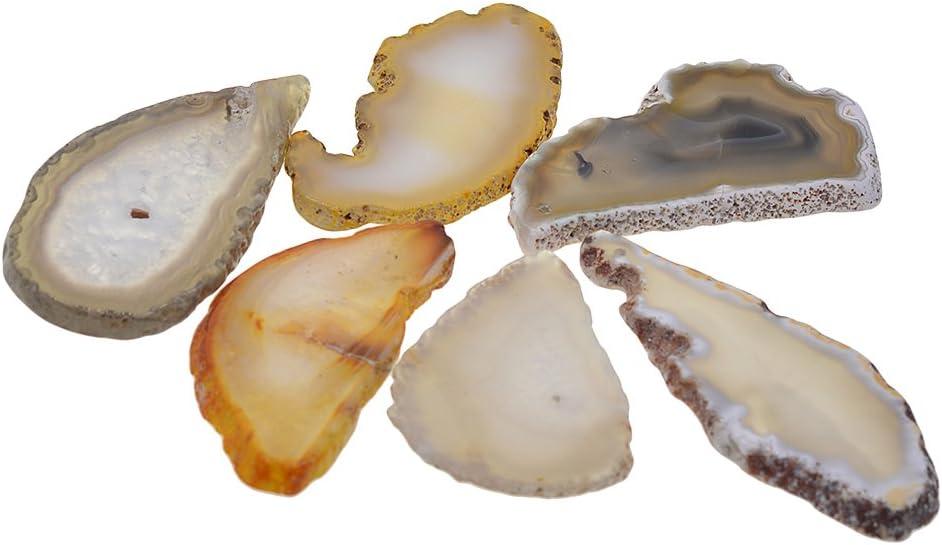 IPOTCH 6pcs Perlas de ágata Abalorios de Piedra para Hacer Pulsera Collar DIY Manualidades Accesorios - Gris Crudo