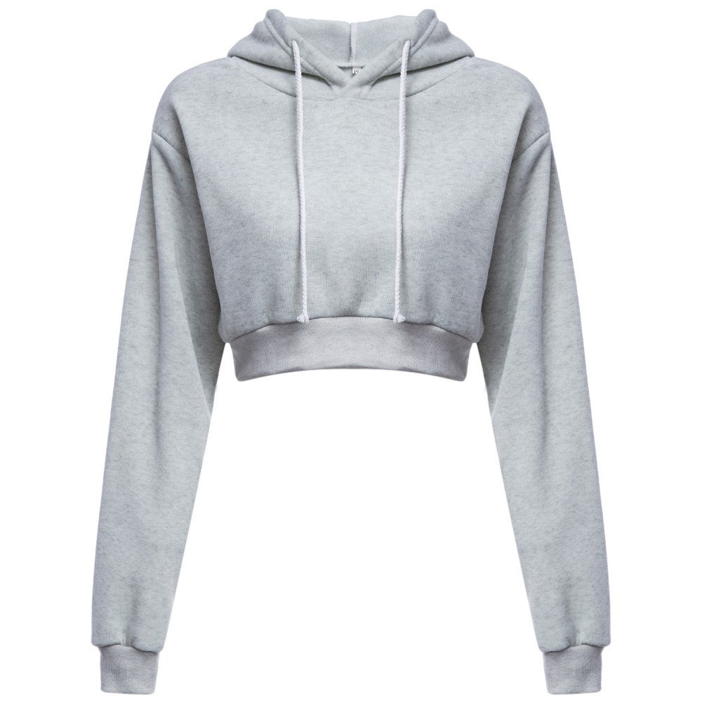 DIOMOR Women Waist Hooded Loose Pullover Long Sleeve Brief Paragraph Hoodie Tops Present Gift Gray