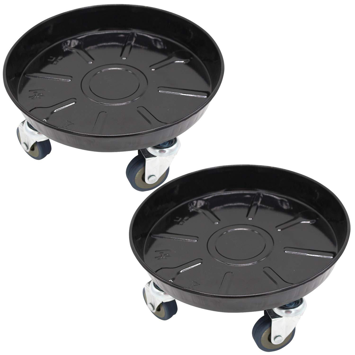 13 inch Heeler Metal Plant Caddies Plant Tray Caddy on Wheels Indoor Outdoor Home Garden Tools Planter Rolling Tray Black 2 Pcs
