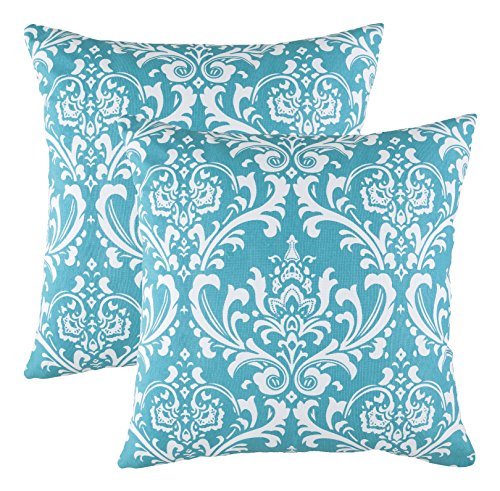 TreeWool, (2 Pack) Throw Pillow Covers Damask Accent Decorative Pillowcases Toss Pillow Cushion Shams Slips Covers for Sofa Couch (16 x 16 Inches / 40 x 40 cm; Turquoise), White - 16 Decorative Throw Inch