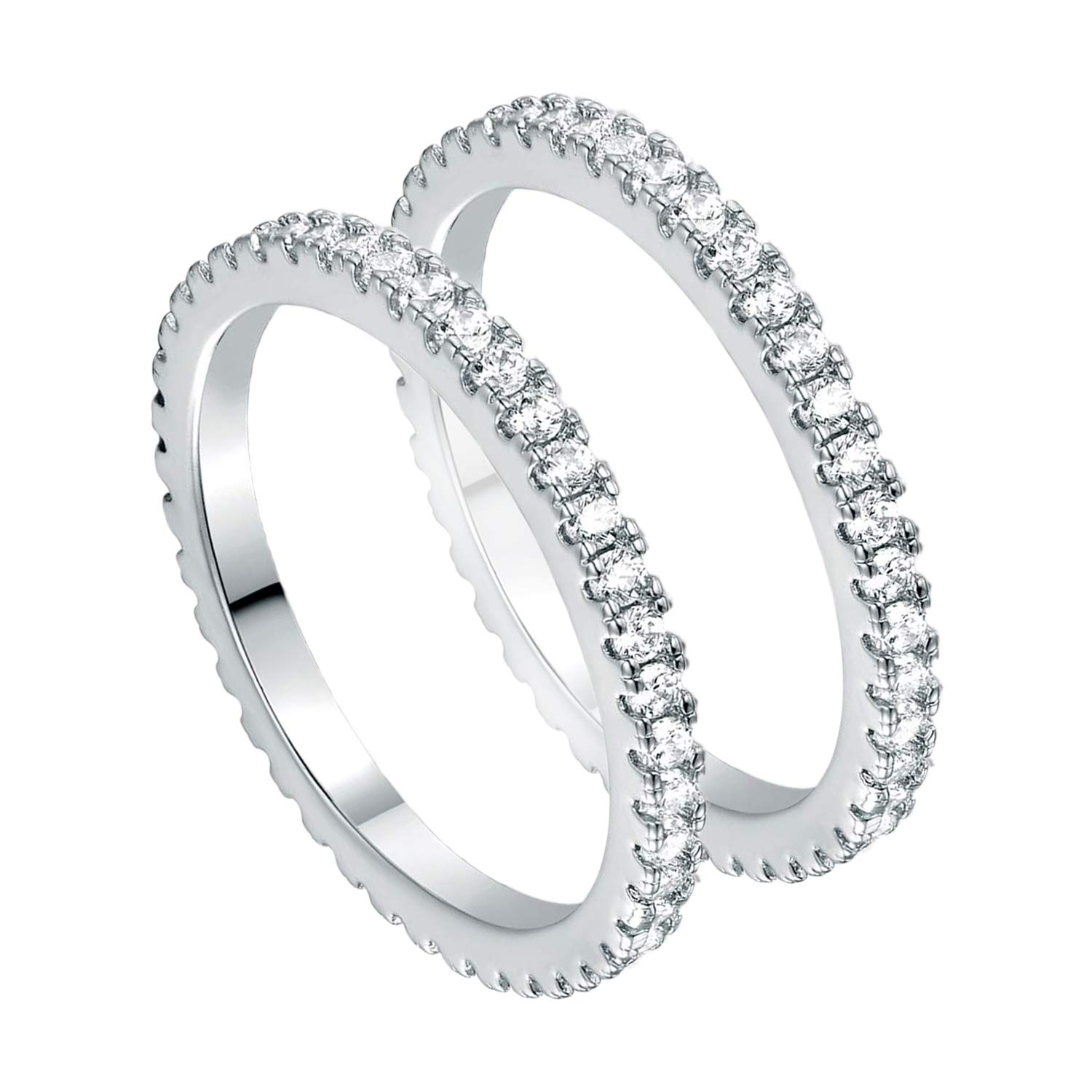 VOLUKA Set of 2 Rings 14K Gold Plated CZ Stackable Eternity Thin Band for Women Men
