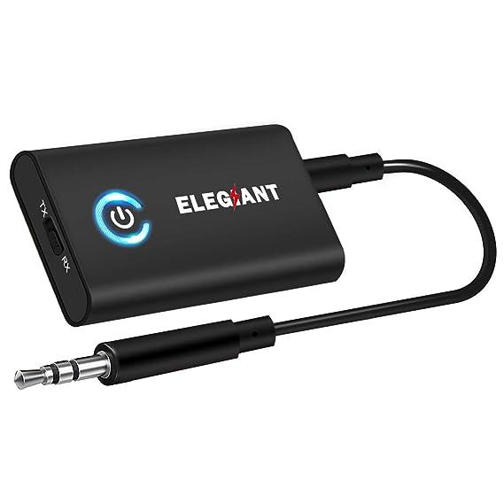 ELEGIANT Transmetteur Bluetooth 5.0 Récepteur et Émetteur Blutooth 2-en-1 Adapteur Bluetooth sans Fil Jack 3,5mm APTX Faible Latence pour Casque TV IPhone Tablettes Voiture