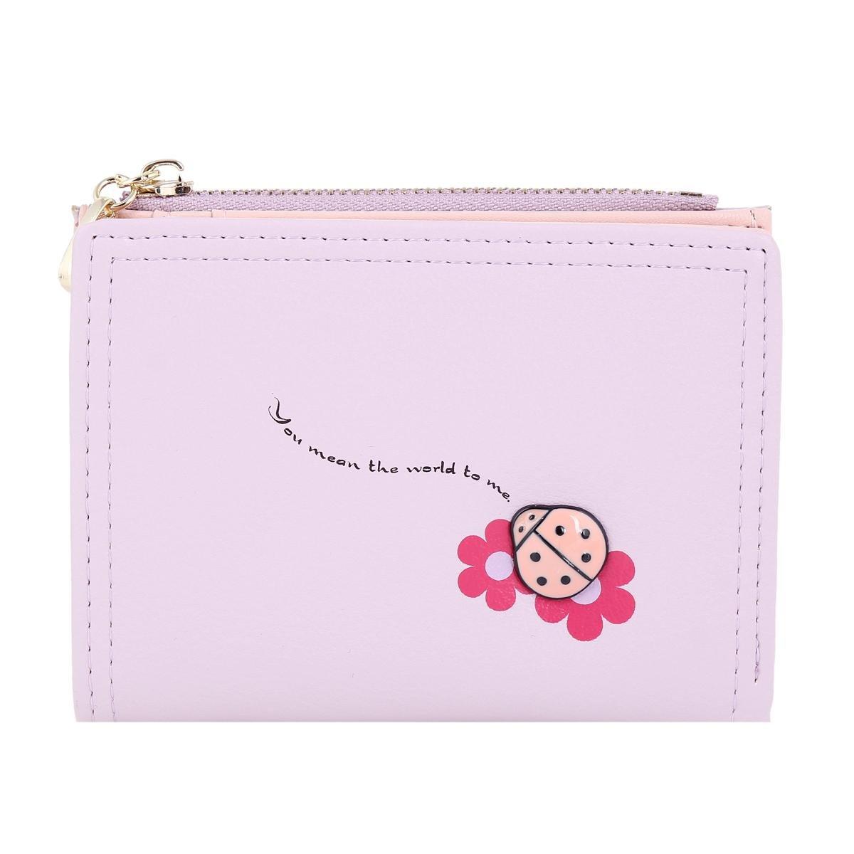Damara ガールズ 小型 テントウむし飾り 花柄 コインケース 財布 B01DG05L7C パープル