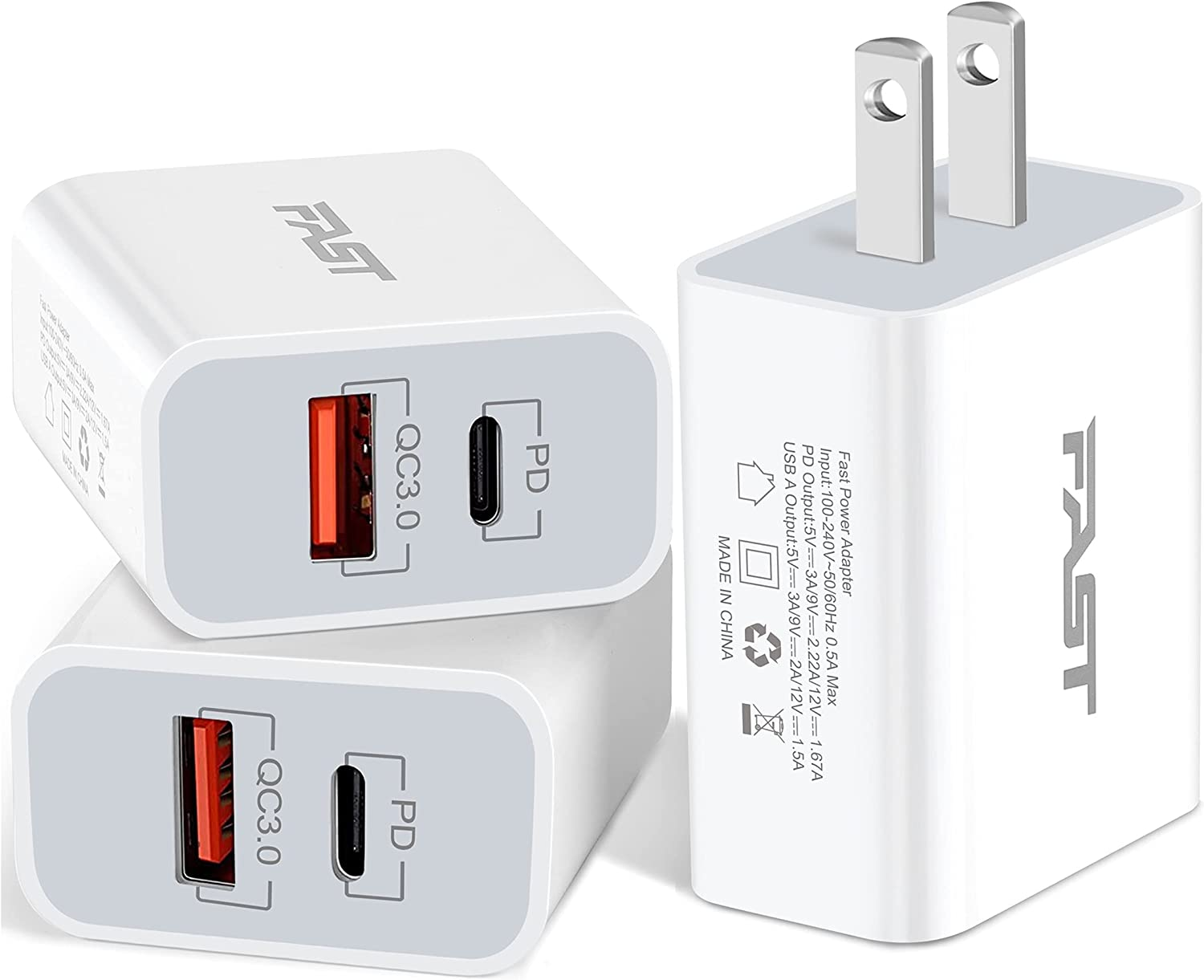 20W USB C Fast Charger, JUNVANG Dual Port PD Power Delivery + Quick Charge 3.0 Wall Charger Block Plug for iPhone 12/11 /Pro Max, XS/XR/X, 8/7/6, iPad Pro, AirPods Pro, Samsung Galaxy, Pixel (Pack-3)
