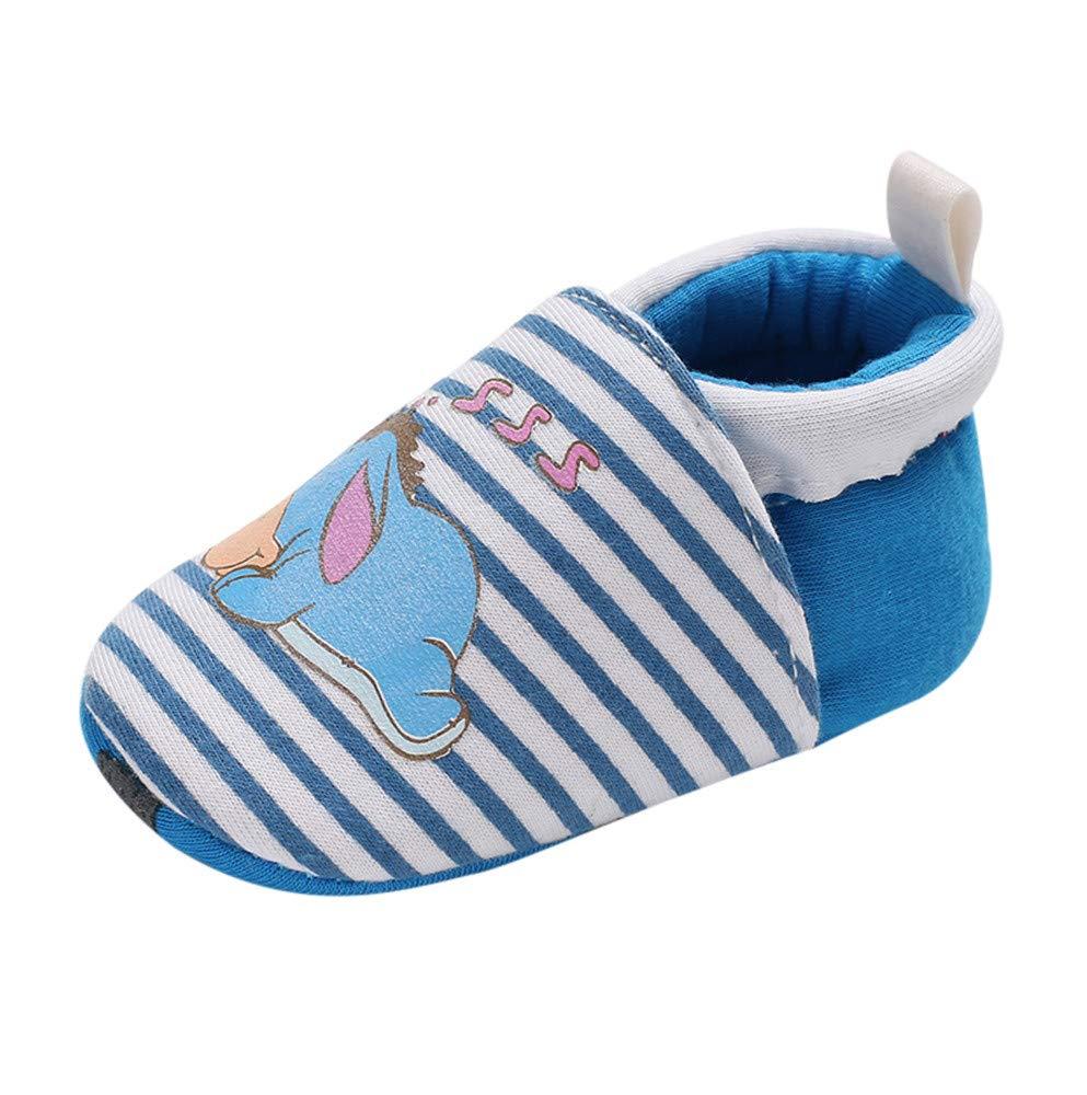 NUWFOR Baby Girl Soft Booties Snow Cartoon Animal Floor Shoes Prewalker Warm Shoes(Blue,12~18 Month)