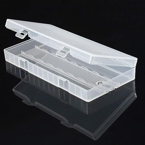 Caja de Almacenamiento de plástico Transparente para 8 Pilas 18650: Amazon.es: Electrónica