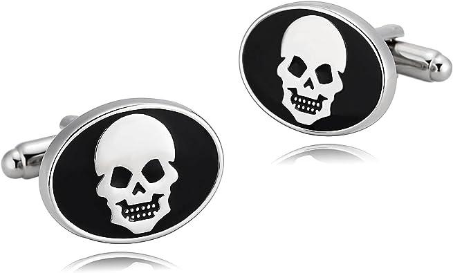AueDsa Gemelos para Hombre Acero Inoxidable para Camisa Plata Negro Gemelos de Camisa Calavera Oval: Amazon.es: Joyería