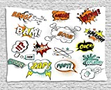 asddcdfdd Superhero Tapestry, Retro Fiction Speech Bubbles Famous Strip Gestures Narrative Webcomics Drawing, Wall Hanging for Bedroom Living Room Dorm, 80 W X 60 L Inches, Multicolor