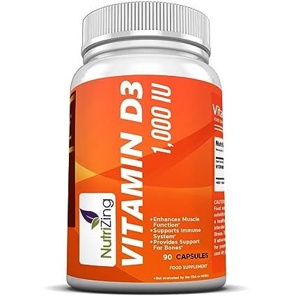 NutriZing suplemento de vitamina D3 ~ alta resistencia 1000 IU ~ para las mujeres y los ...